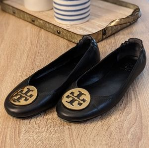 Tory Burch Black Leather Minnie Travel Ballet Flat